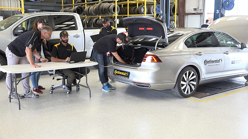 Image 2 - The Continental team working on the prototype for an automated tyre testing vehicle