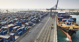 Aerial view of container yard and entire Sokhna terminal